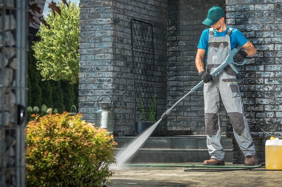 pressure washing the concrete floor
