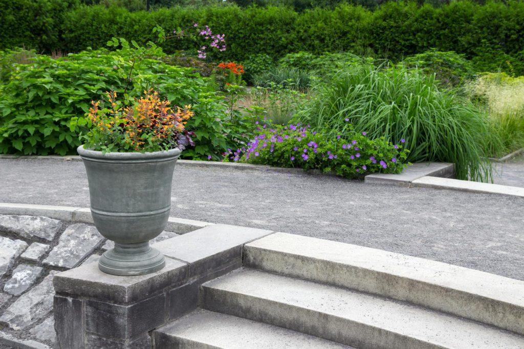 concrete path walk in the garden