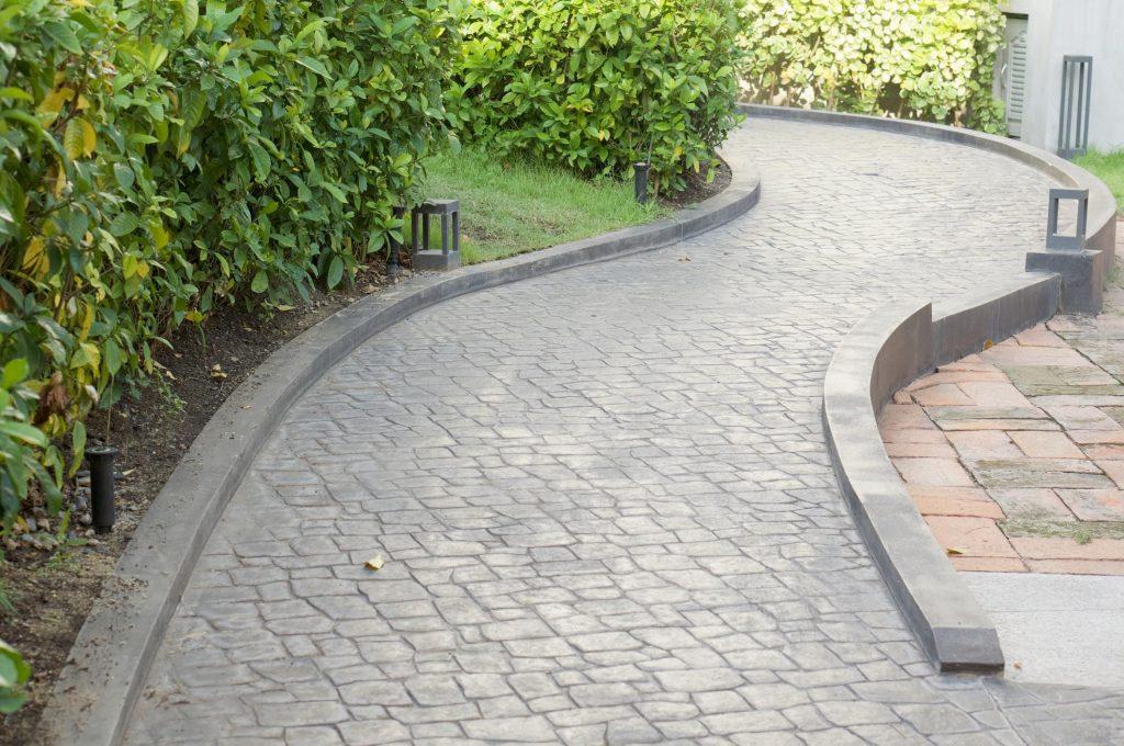 stamped concrete path walk